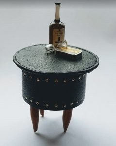 Black Leather Side Table